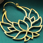 Brass lotus flower hoops