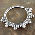 Silver beaded sun septum ring
