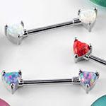 Forward facing opal heart nipple barbell