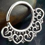 Silver beaded heart septum ring