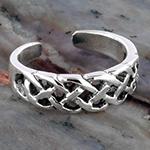 Silver adjustable celtic toe ring