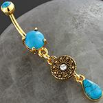 Mandala turquoise dangle navel