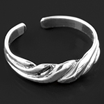 Silver adjustable twisted toe ring
