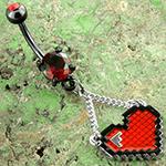 Pixelated heart dangle navel