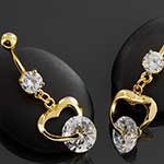 Gold plated CZ heart navel