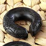 Ebony wood floral engraved hoops