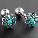 Turquoise daisy barbell