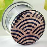 Pyrex glass colorfront plugs (Flora and fauna on indigo sparkle)