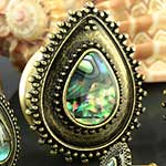 Abalone shell teardrop plugs