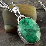 Faceted Indian emerald and silver necklace