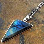 Labradorite triangle and silver necklace