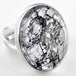 Silver and cracked crystal ring