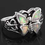 Silver and synthetic opal butterfly ring