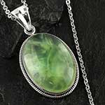 Pranite and silver necklace
