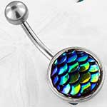 Iridescent scales navel