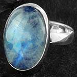 Silver and blue moonstone ring