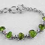Peridot and silver bracelet