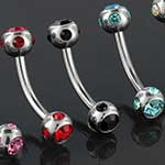 Steel curved barbell with five-gem balls