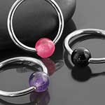 Steel captive with stone bead